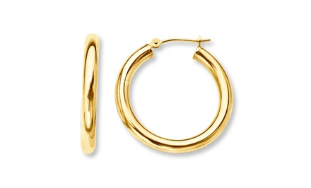 French Lock Hoops in 14K Gold