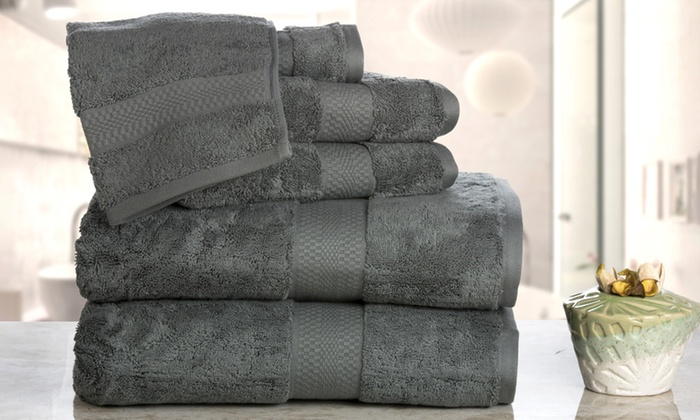 Aerosoft 710 GSM 100% Combed Cotton Bath Towel Set (6 Piece) ...