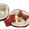 AKC Plaid Paw-Print Pet Bed Set (3-Piece)