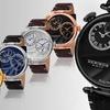 Akribos XXIV Men's Dual-Time Genuine Leather Watch