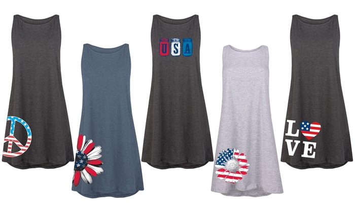 Up To 44% Off on Women\'s 4 of July Tank Dress | Groupon Goods