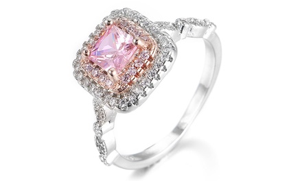 Pink Square-Cut Simulated Sapphire Ring