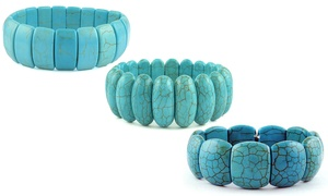Genuine Turquoise Stretch Bracelets by Valencia Gems