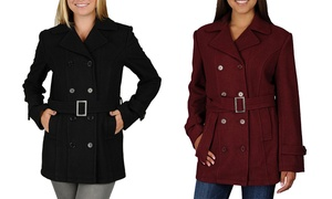 Women's Mid-Length Wool Blend Pea Coat
