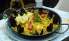 Paella et verre vin pour 2 ou 4