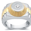 1/10 CTTW Yellow Gold Plated Men's Diamond Ring in Sterling Silver