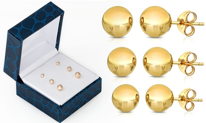 031a72843 Up To 59% Off on 14K Gold Ball Studs (3-Pack) | Groupon Goods