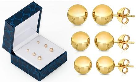 14K Gold Ball Stud Earrings (3-Pack)