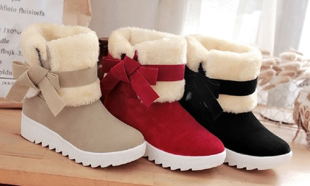 Women's Foldable Bow Ankle Boots