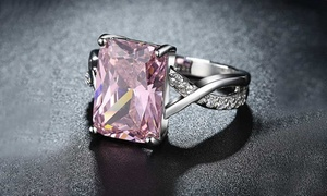 Emerald Cut Pink Crystal Swirl Ring Set Made with Swarovski Elements