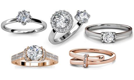 Bague de fiançailles plaquée or 18 carats et ornées de cristaux