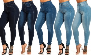 Women's Ultra High-Waist Plain Stretchy Skinny Jeans in Junior Sizes