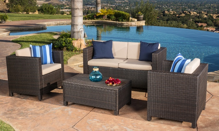 Venice wicker sofa set 4 pcs groupon goods for Best deals on outdoor patio furniture