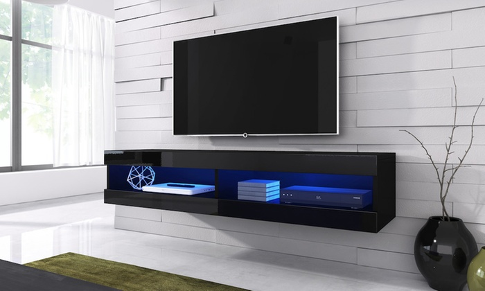meuble tv volanti led 150cm groupon shopping. Black Bedroom Furniture Sets. Home Design Ideas