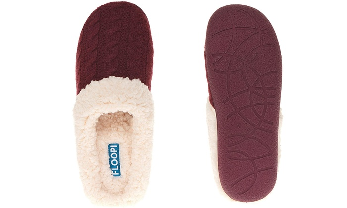 d11791146ab Floopi Women s Knitted Sherpa Lined Clog Slippers with Memory Foam ...