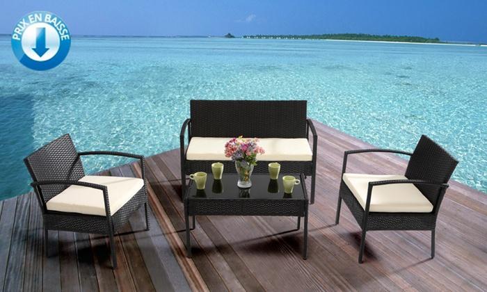 salon de jardin en r sine tress e california groupon. Black Bedroom Furniture Sets. Home Design Ideas