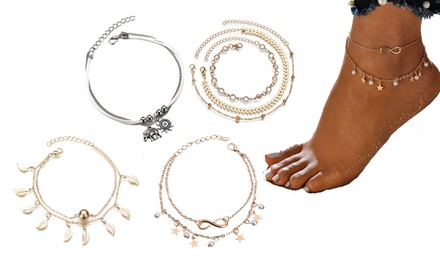 One or Two Layered Anklets with Charms