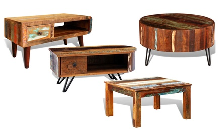 Table basse vintage en bois groupon shopping for Groupon table basse