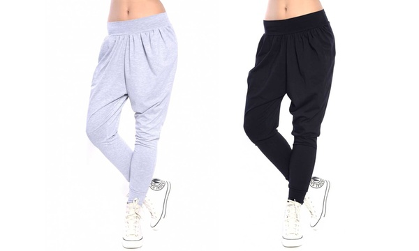 Pantalones Harem Para Mujer Con Tiro Bajo