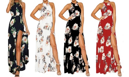 Abito floreale da donna, disponibile in 4 colori e varie taglie