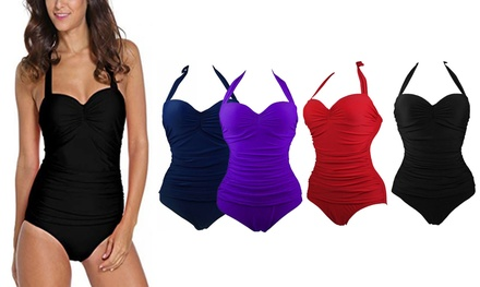 Halter Slimming One-Piece Swimsuit: One ($19) or Two ($32)