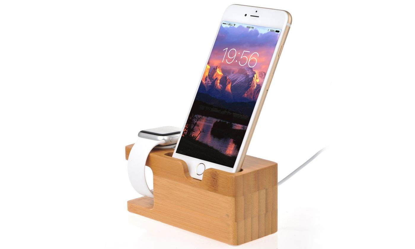 iMounTEK Bamboo Charging Stand for iPhones and Apple Watch