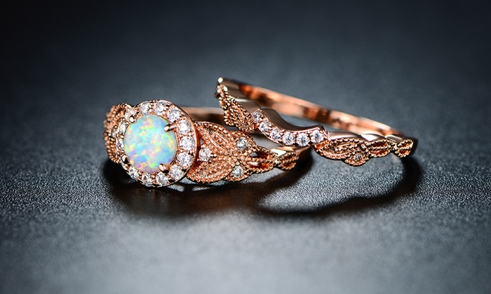 White Fire Opal Halo Engagement Ring Set in 18K Rose Gold Groupon