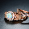 White Fire Opal Halo Engagement Ring Set in 18K Rose Gold
