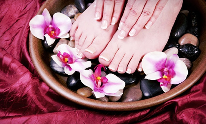 Pure Spa and Salon - Dallas: $49 for a Spa Manicure and Hot-Stone Pedicure with Spa Access at Pure Spa and Salon (Up to $120 Value)