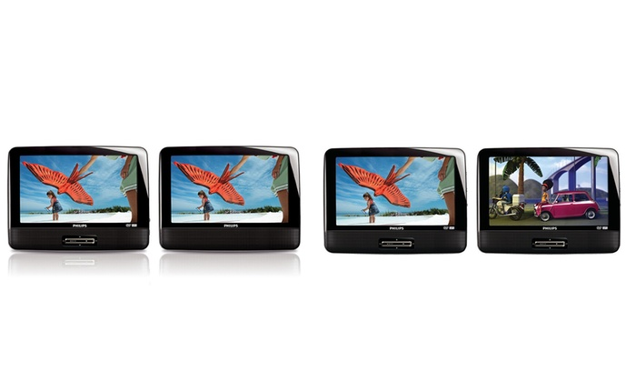 "Philips 9"" Dual-Screen Portable DVD Players (Refurbished)"