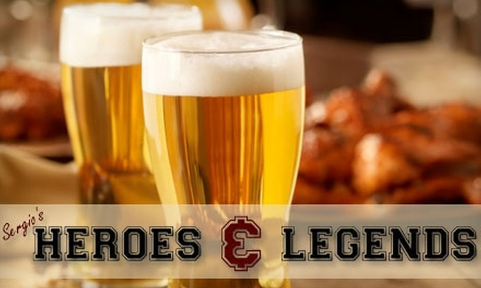 Heroes and Legends - Riverside: $10 for $20 Worth of Pub Fare and Drinks at Heroes And Legends