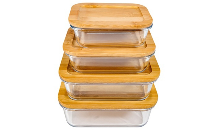 Borosilicate Glass Food Storage Container Set W Bamboo Lids 8