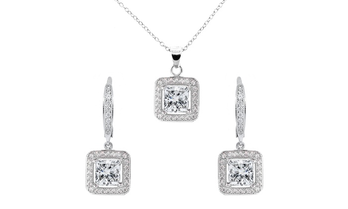 Swarovski halo jewelry set groupon goods halo pendant and earrings with swarovski elements aloadofball Image collections