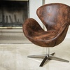 Blake Brown Aged Microfiber Chair
