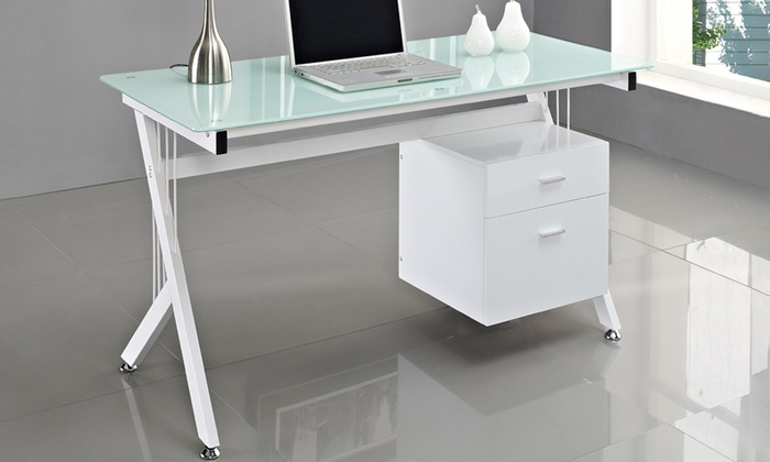 bureau plateau en verre et 2 tiroirs groupon shopping. Black Bedroom Furniture Sets. Home Design Ideas