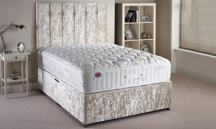 Velvet divan bed set groupon goods for Divan bed and mattress deals
