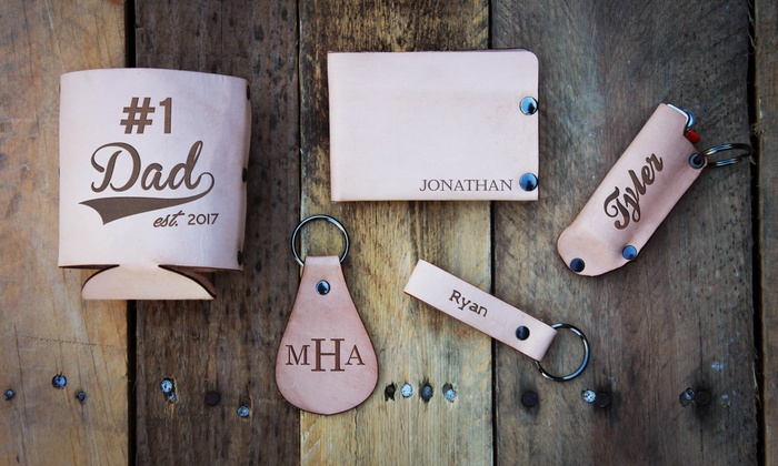 Personalized Leather Gifts from Etchey (Up to 75% Off). Nine Options Available.