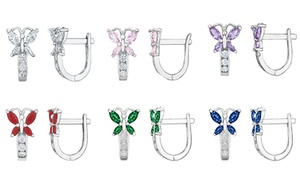 14K White Gold Kids Butterfly Leverback Crystal Earrings
