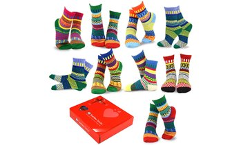 TeeHee Women's Winter Crew Fun Socks (9 Pairs) with Gift Box