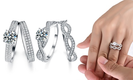 Sreema London Infinity or Double Pave Ring Set