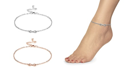 One or Two Philip Jones Infinity Anklets with Crystals from Swarovski®