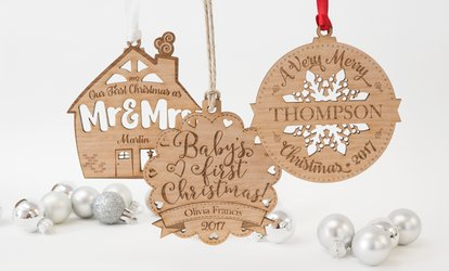 image for One, Two, or Three Custom Wooden Ornaments with Wooden Confetti from Frame the Alphabet (Up to 81% Off)