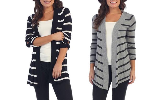 Fall Striped Women's Cardigan