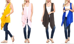 Isaac Liev Women's Drape Duster Vest (Plus Sizes Available)