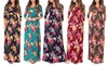Women's Ruched Floral Print Maxi Dress. Plus Sizes Available.