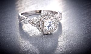 L'Artiste Sterling Silver Split Shank Ring Made w/ Swarovski Elements
