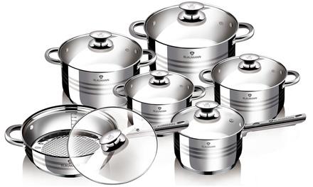 Batterie de cuisine 12 pièces en acier inoxydable Blaumann, compatible induction