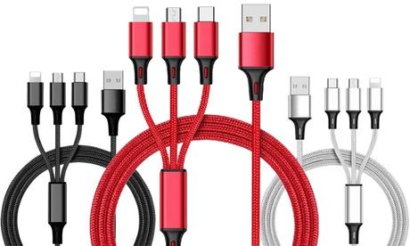 Cable de carga 3 en 1 con conectores para USB C, Lightning y Micro-USB
