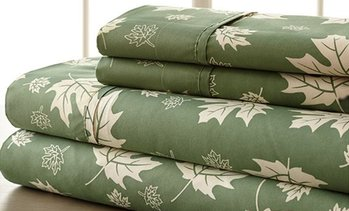Clearance: Soft Falling Leaves Bed Sheet Set (4-Piece)
