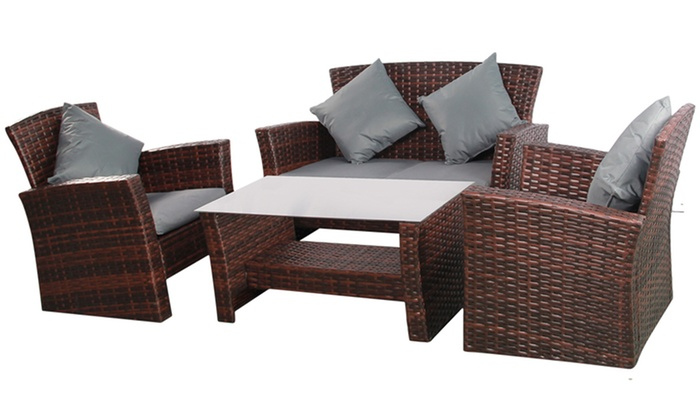 Four-Seater Rattan-Effect set